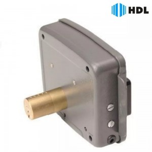 Fechadura Elétrica Dupla De Sobrepor 12v Hdl C-90 Cinza Aço